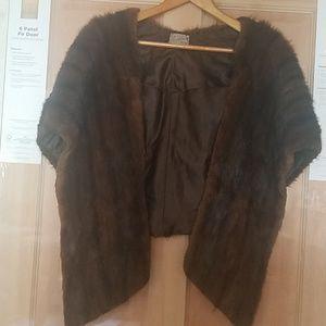 Brown genuine mink stole